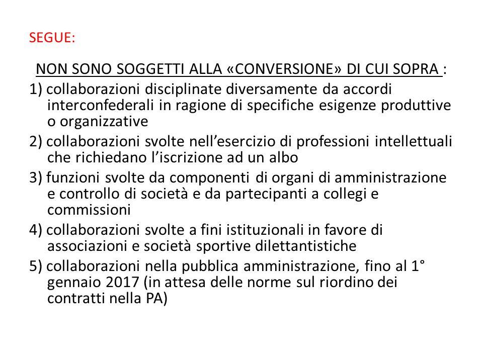 SEGUE: NON SONO SOGGETTI ALLA «CONVERSIONE» DI CUI SOPRA : 1) collaborazioni disciplinate diversamente da accordi interconfederali in ragione di speci