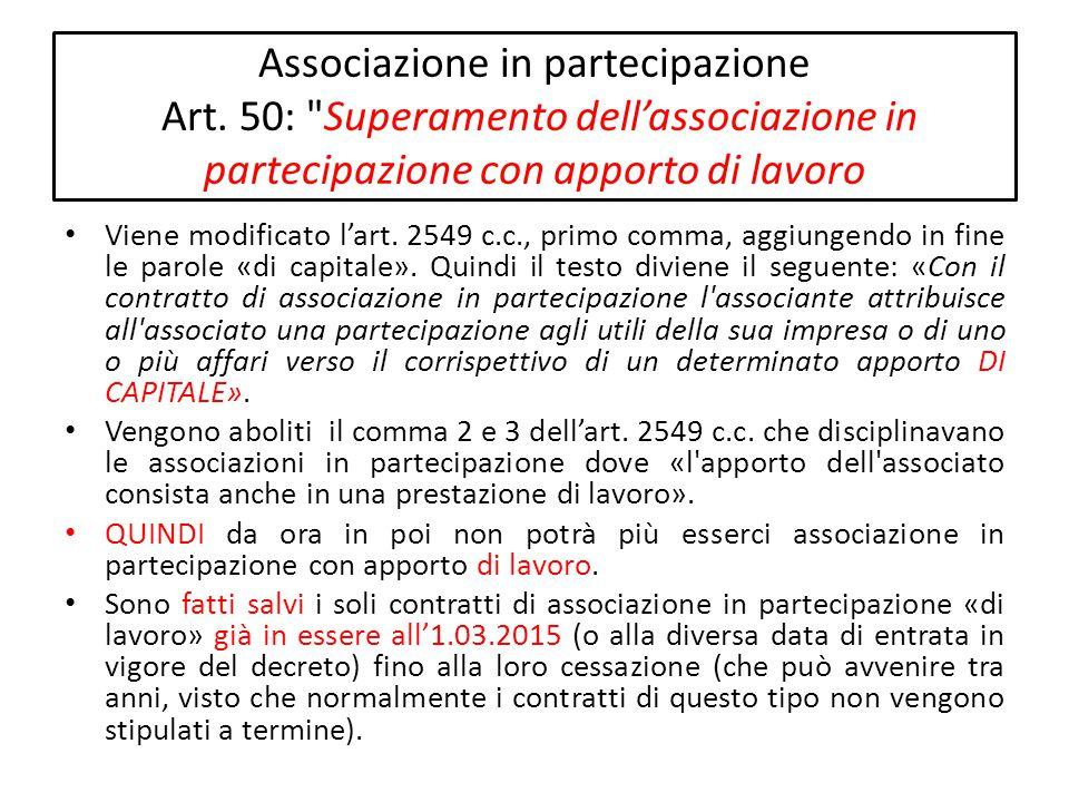Associazione in partecipazione Art. 50: