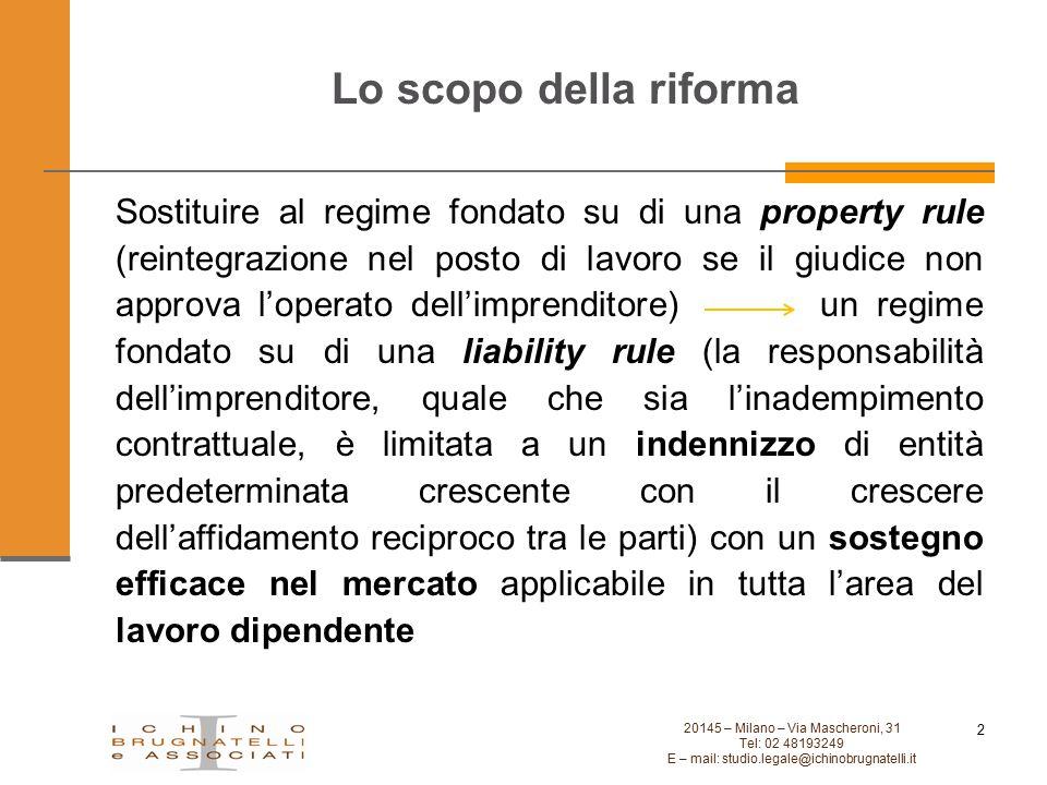 Lo scopo della riforma 20145 – Milano – Via Mascheroni, 31 Tel: 02 48193249 E – mail: studio.legale@ichinobrugnatelli.it 2 Sostituire al regime fondat