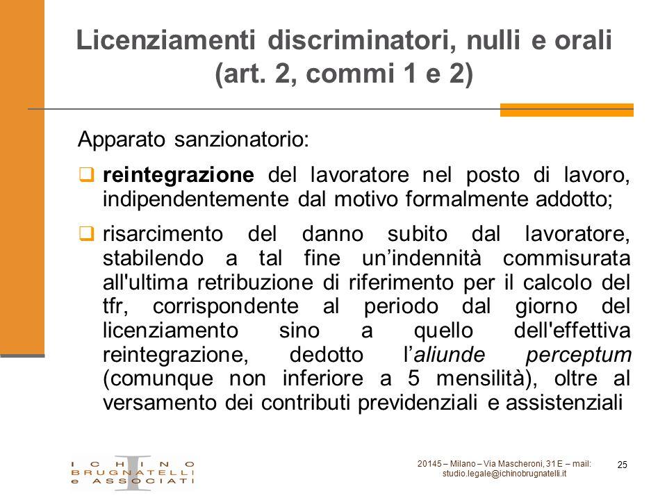 Licenziamenti discriminatori, nulli e orali (art. 2, commi 1 e 2) Apparato sanzionatorio:  reintegrazione del lavoratore nel posto di lavoro, indipen