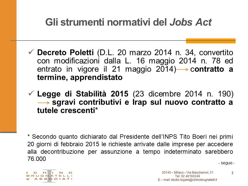 Gli strumenti normativi del Jobs Act 3 20145 – Milano – Via Mascheroni, 31 Tel: 02 48193249 E – mail: studio.legale@ichinobrugnatelli.it Decreto Polet
