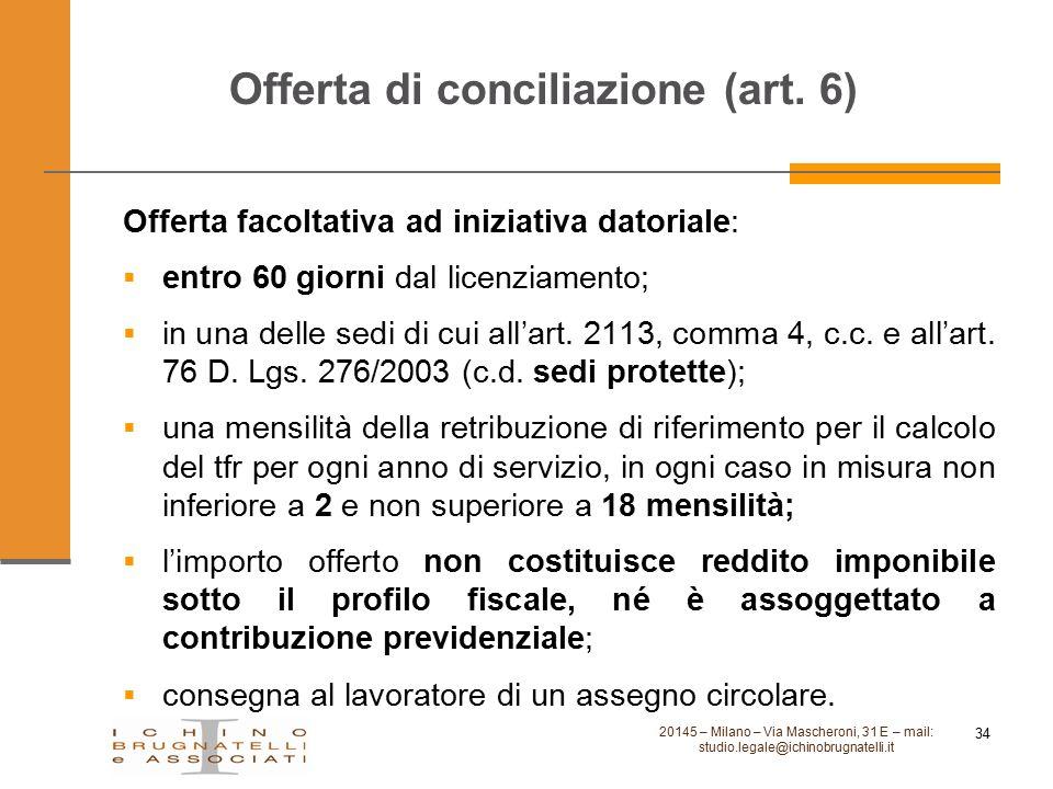 Offerta di conciliazione (art. 6) Offerta facoltativa ad iniziativa datoriale:  entro 60 giorni dal licenziamento;  in una delle sedi di cui all'art