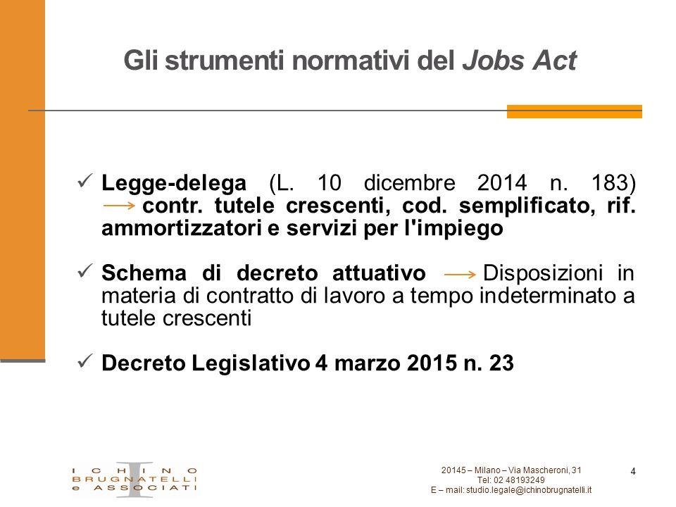 Gli strumenti normativi del Jobs Act 4 20145 – Milano – Via Mascheroni, 31 Tel: 02 48193249 E – mail: studio.legale@ichinobrugnatelli.it Legge-delega