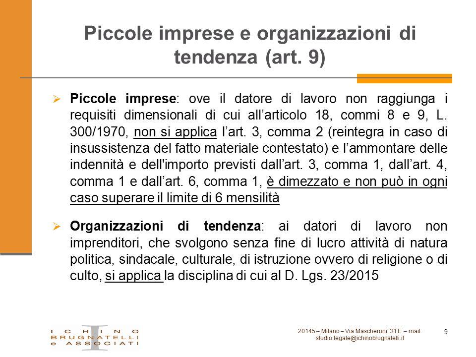 Piccole imprese e organizzazioni di tendenza (art. 9) 20145 – Milano – Via Mascheroni, 31 E – mail: studio.legale@ichinobrugnatelli.it 9  Piccole imp