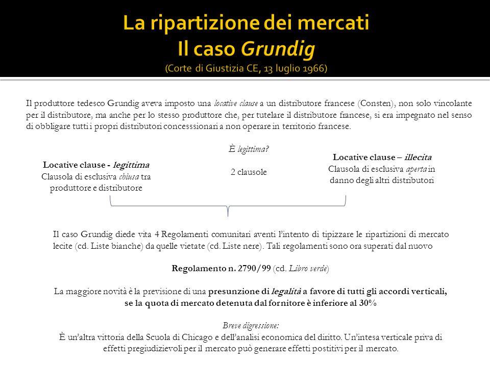 Il produttore tedesco Grundig aveva imposto una locative clause a un distributore francese (Consten), non solo vincolante per il distributore, ma anch