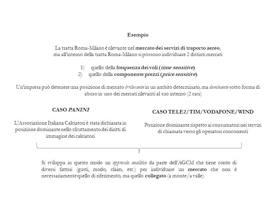 Esempio La tratta Roma-Milano è rilevante nel mercato dei servizi di traporto aereo, ma all'interno della tratta Roma-Milano si possono individuare 2