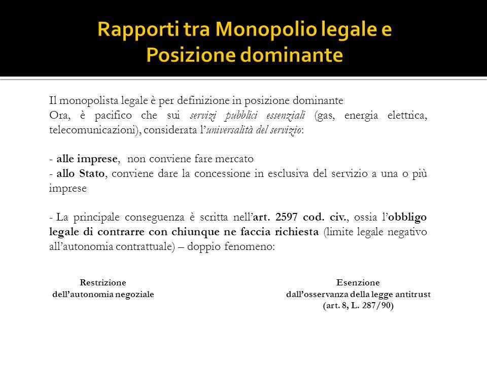 Il monopolista legale è per definizione in posizione dominante Ora, è pacifico che sui servizi pubblici essenziali (gas, energia elettrica, telecomuni