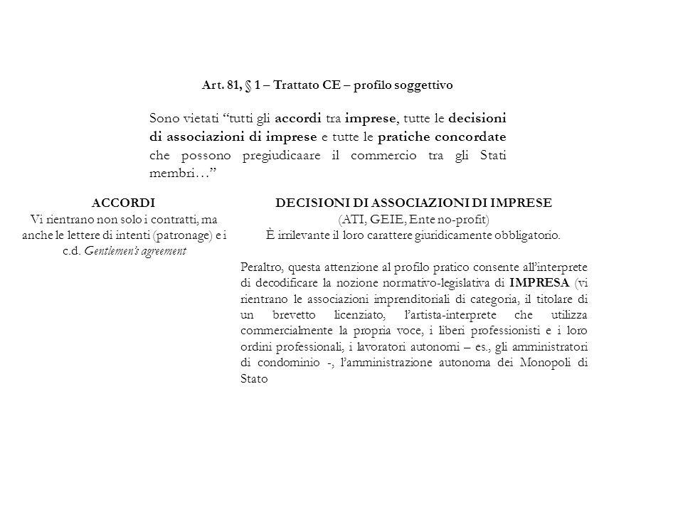 """Art. 81, § 1 – Trattato CE – profilo soggettivo Sono vietati """"tutti gli accordi tra imprese, tutte le decisioni di associazioni di imprese e tutte le"""