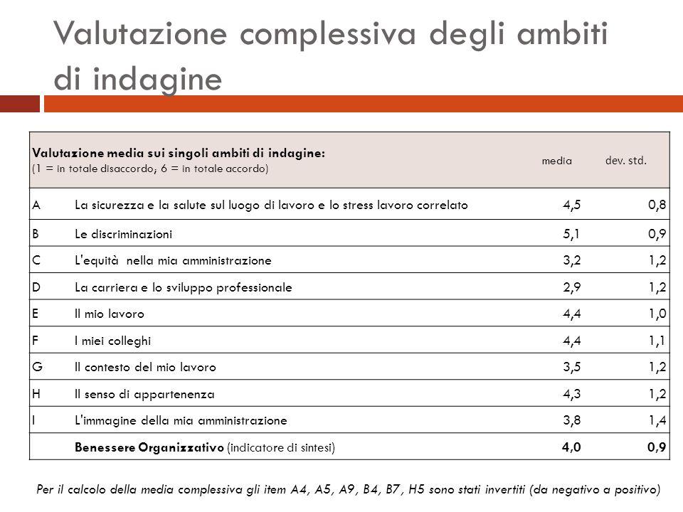 Valutazione complessiva degli ambiti di indagine Valutazione media sui singoli ambiti di indagine: (1 = in totale disaccordo; 6 = in totale accordo) media dev.