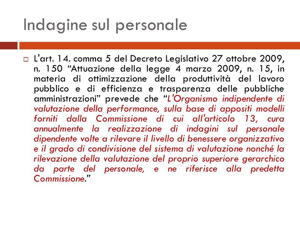 Indagine sul personale  L art. 14. comma 5 del Decreto Legislativo 27 ottobre 2009, n.