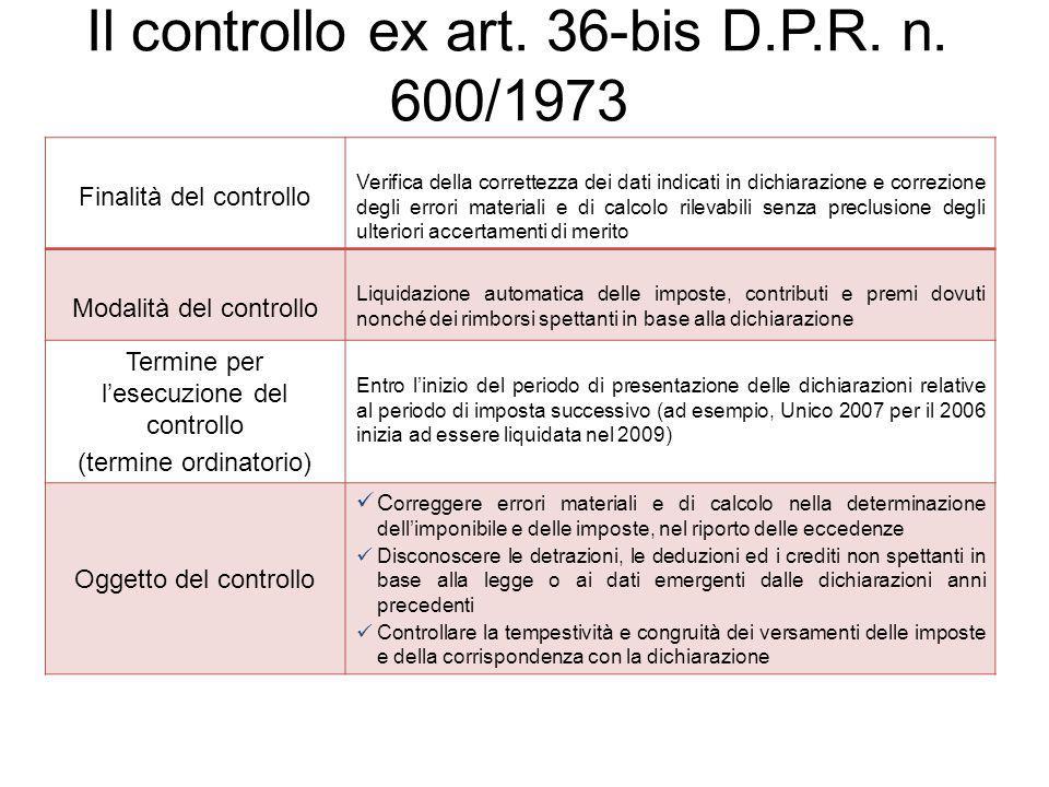 Il controllo ex art. 36-bis D.P.R. n. 600/1973 Finalità del controllo Verifica della correttezza dei dati indicati in dichiarazione e correzione degli
