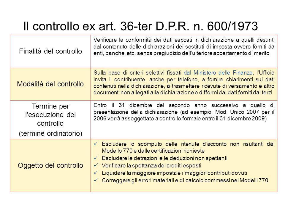 Finalità del controllo Verificare la conformità dei dati esposti in dichiarazione a quelli desunti dal contenuto delle dichiarazioni dei sostituti di