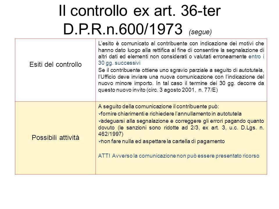 Esiti del controllo L'esito è comunicato al contribuente con indicazione dei motivi che hanno dato luogo alla rettifica al fine di consentire la segna
