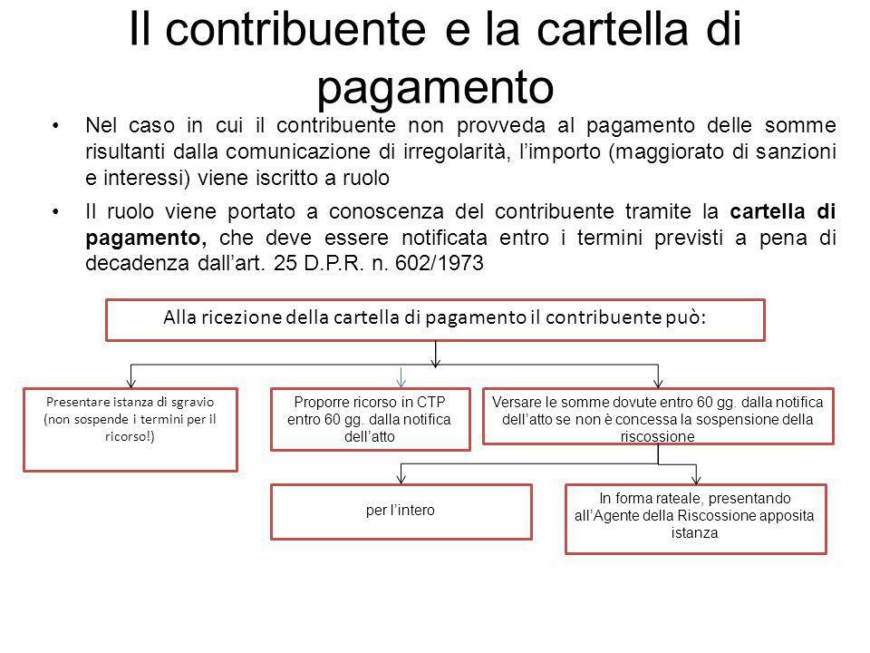 Il contribuente e la cartella di pagamento Nel caso in cui il contribuente non provveda al pagamento delle somme risultanti dalla comunicazione di irr