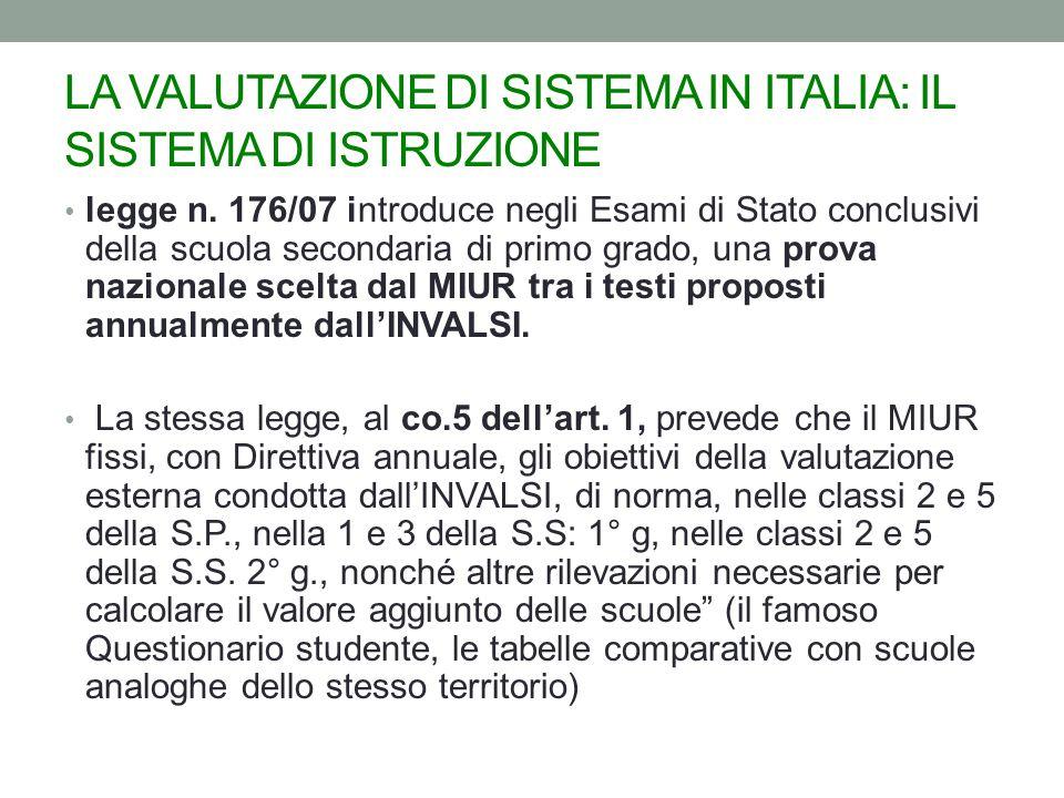 LA VALUTAZIONE DI SISTEMA IN ITALIA: IL SISTEMA DI ISTRUZIONE legge n.