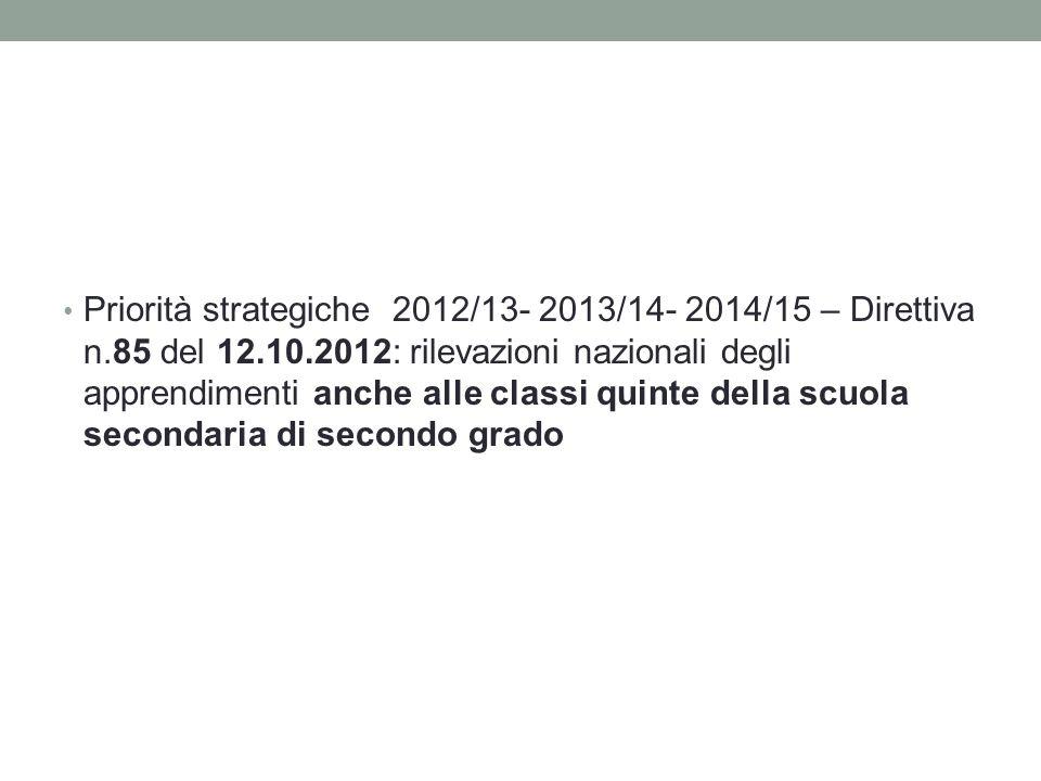 Priorità strategiche 2012/13- 2013/14- 2014/15 – Direttiva n.85 del 12.10.2012: rilevazioni nazionali degli apprendimenti anche alle classi quinte della scuola secondaria di secondo grado