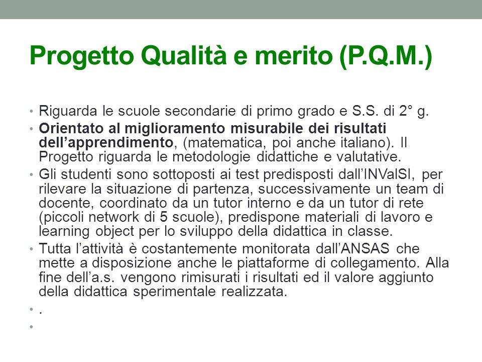 Progetto Qualità e merito (P.Q.M.) Riguarda le scuole secondarie di primo grado e S.S.