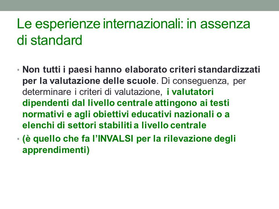 Le esperienze internazionali: in assenza di standard Non tutti i paesi hanno elaborato criteri standardizzati per la valutazione delle scuole.