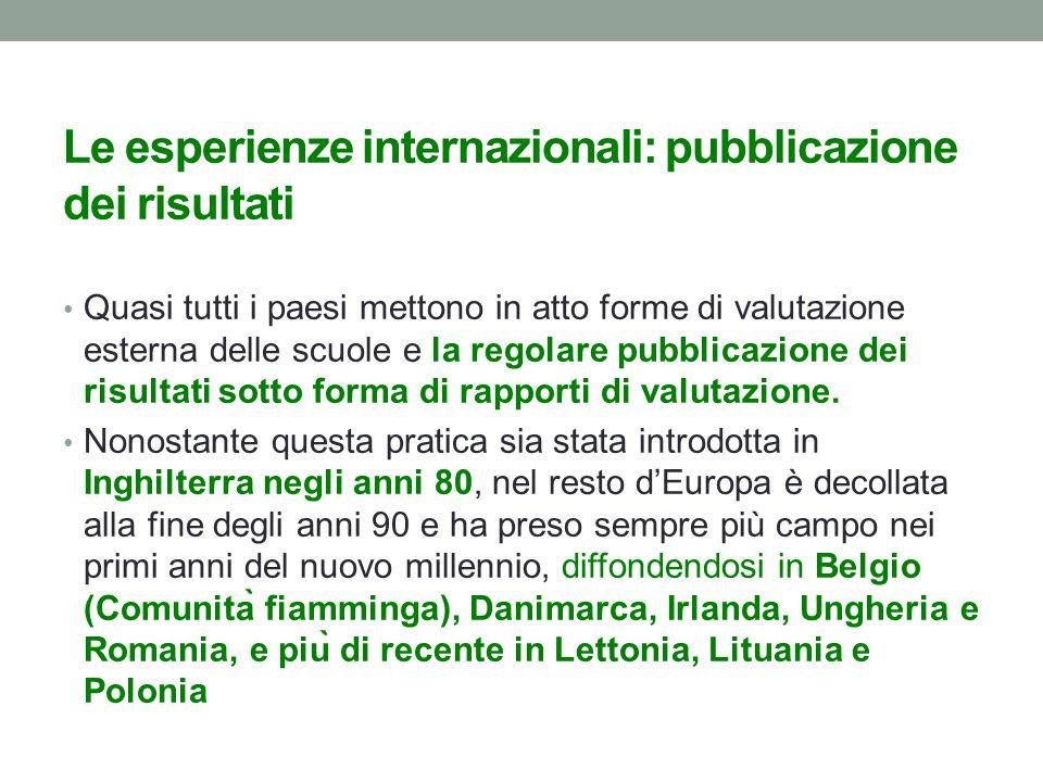 Le esperienze internazionali: pubblicazione dei risultati Quasi tutti i paesi mettono in atto forme di valutazione esterna delle scuole e la regolare pubblicazione dei risultati sotto forma di rapporti di valutazione.