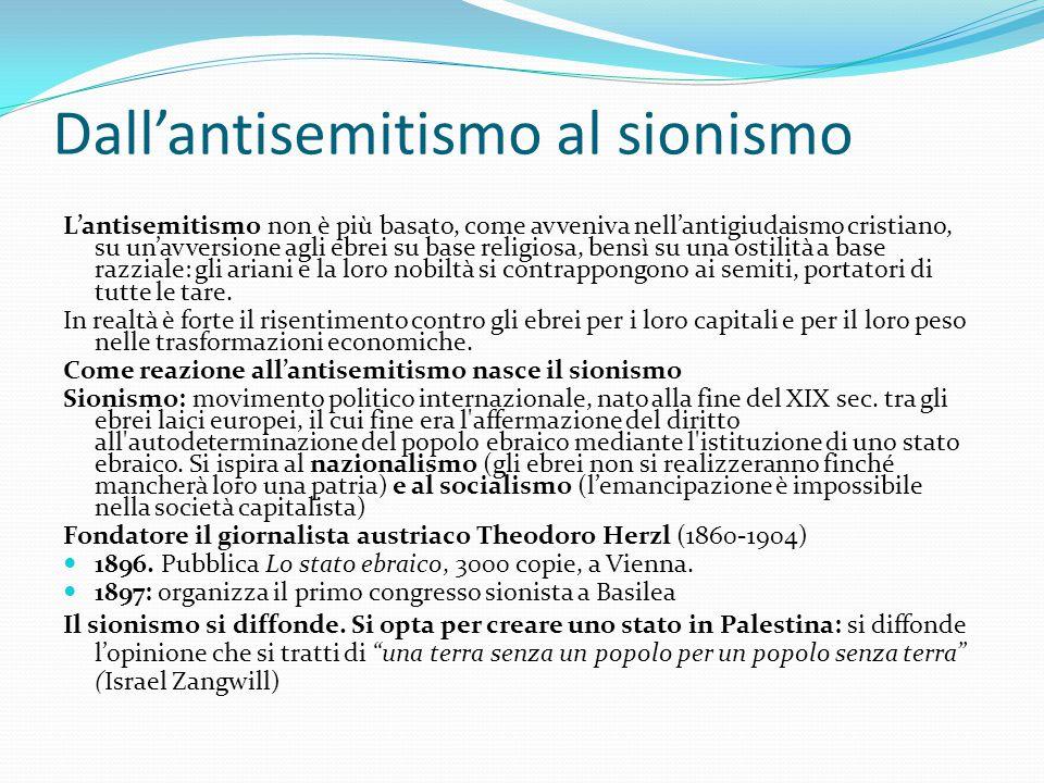 Dall'antisemitismo al sionismo L'antisemitismo non è più basato, come avveniva nell'antigiudaismo cristiano, su un'avversione agli ebrei su base relig