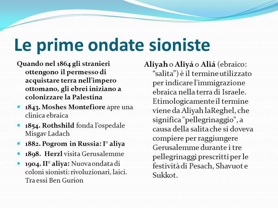 Le prime ondate sioniste Quando nel 1864 gli stranieri ottengono il permesso di acquistare terra nell'impero ottomano, gli ebrei iniziano a colonizzar