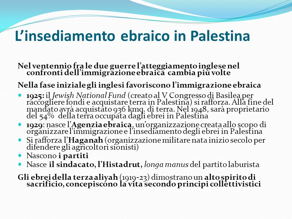 L'insediamento ebraico in Palestina Nel ventennio fra le due guerre l'atteggiamento inglese nel confronti dell'immigrazione ebraica cambia più volte N