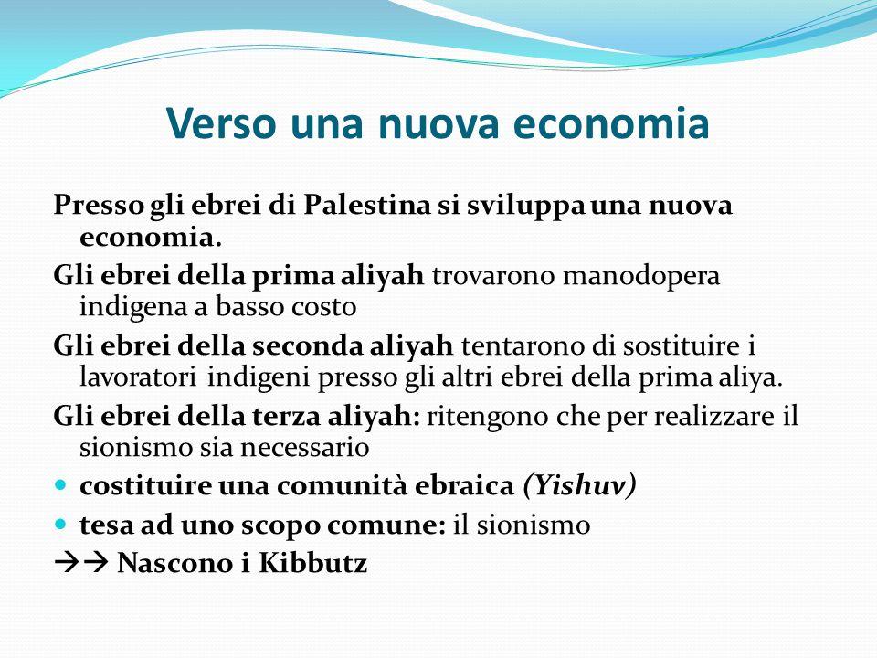 Verso una nuova economia Presso gli ebrei di Palestina si sviluppa una nuova economia. Gli ebrei della prima aliyah trovarono manodopera indigena a ba