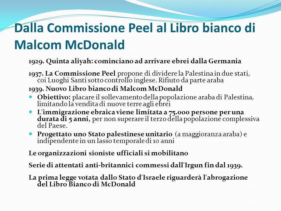 Dalla Commissione Peel al Libro bianco di Malcom McDonald 1929. Quinta aliyah: cominciano ad arrivare ebrei dalla Germania 1937. La Commissione Peel p