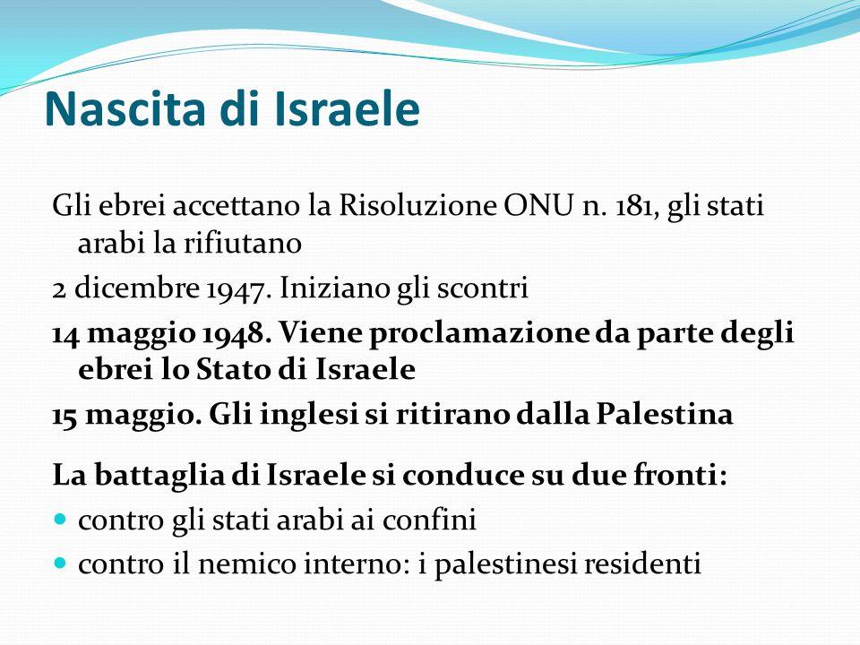 Nascita di Israele Gli ebrei accettano la Risoluzione ONU n. 181, gli stati arabi la rifiutano 2 dicembre 1947. Iniziano gli scontri 14 maggio 1948. V