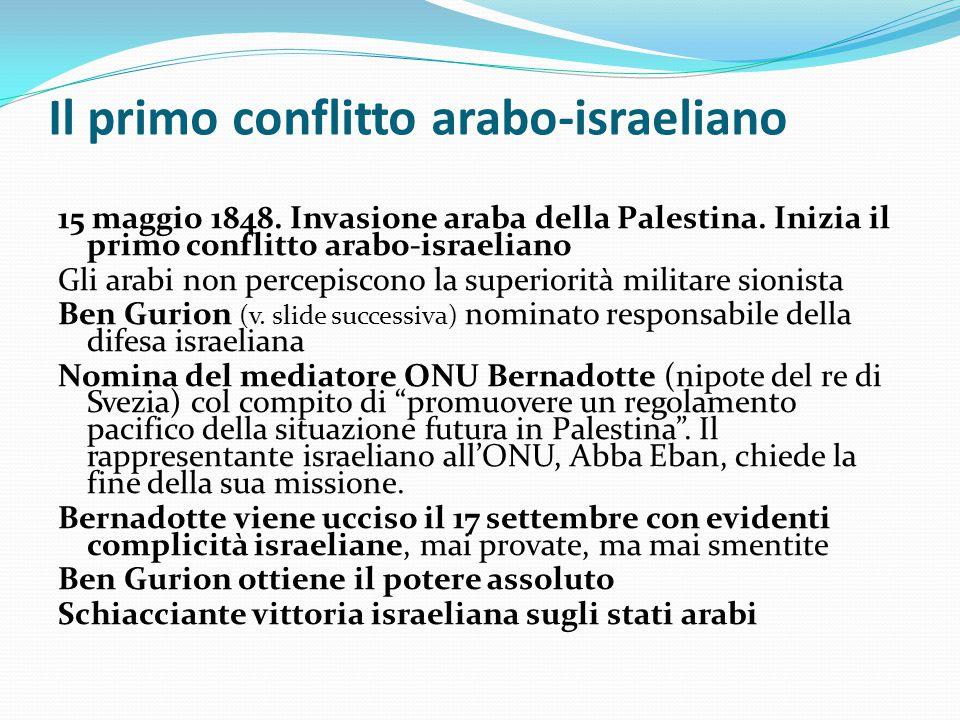 Il primo conflitto arabo-israeliano 15 maggio 1848. Invasione araba della Palestina. Inizia il primo conflitto arabo-israeliano Gli arabi non percepis