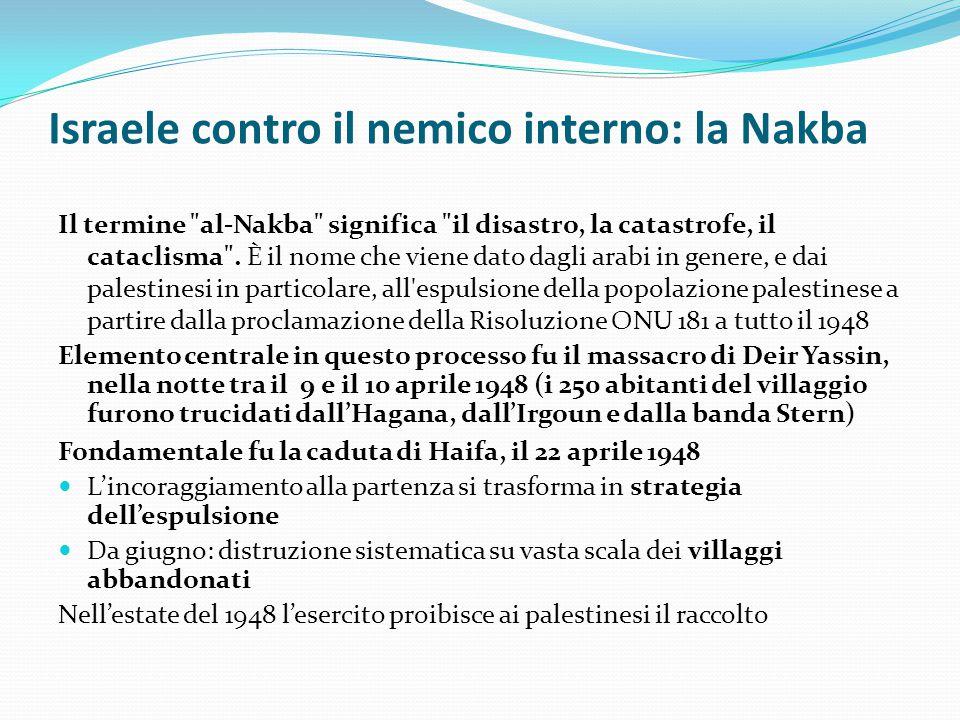 Israele contro il nemico interno: la Nakba Il termine