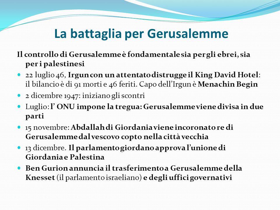 La battaglia per Gerusalemme Il controllo di Gerusalemme è fondamentale sia per gli ebrei, sia per i palestinesi 22 luglio 46, Irgun con un attentato