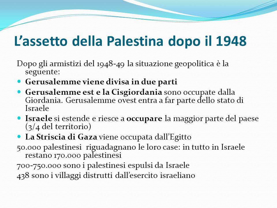 L'assetto della Palestina dopo il 1948 Dopo gli armistizi del 1948-49 la situazione geopolitica è la seguente: Gerusalemme viene divisa in due parti G