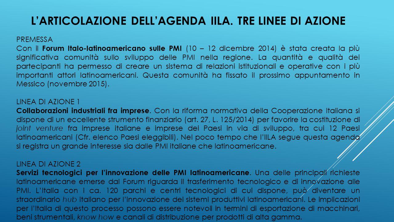 L'ARTICOLAZIONE DELL'AGENDA IILA.