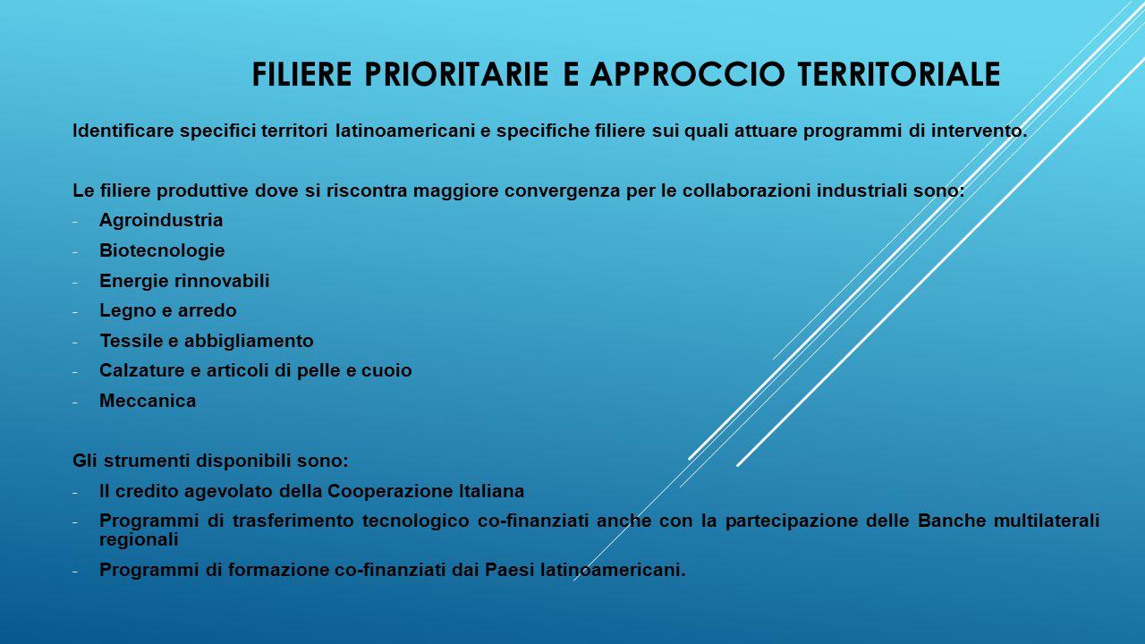 FILIERE PRIORITARIE E APPROCCIO TERRITORIALE Identificare specifici territori latinoamericani e specifiche filiere sui quali attuare programmi di intervento.