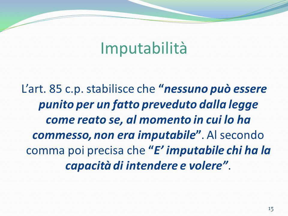 """Imputabilità L'art. 85 c.p. stabilisce che """"nessuno può essere punito per un fatto preveduto dalla legge come reato se, al momento in cui lo ha commes"""