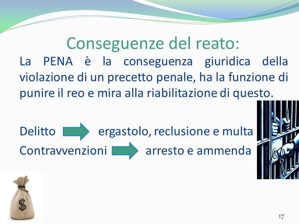 Conseguenze del reato: 17 La PENA è la conseguenza giuridica della violazione di un precetto penale, ha la funzione di punire il reo e mira alla riabi