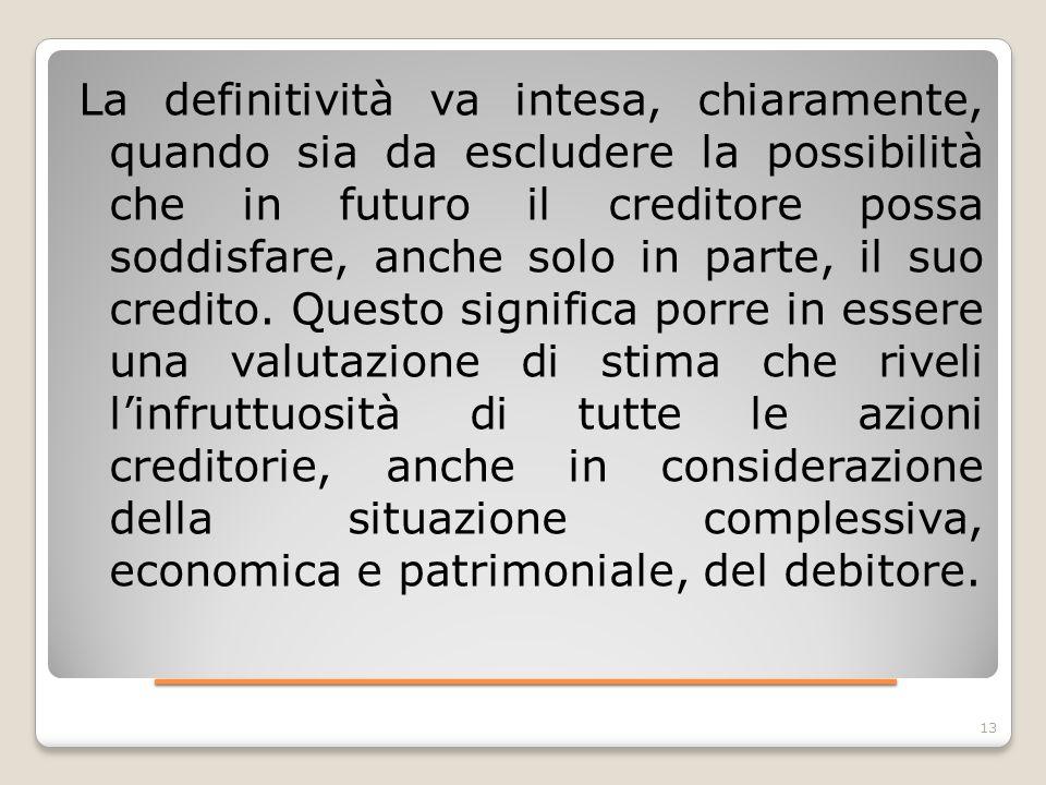____________________ La definitività va intesa, chiaramente, quando sia da escludere la possibilità che in futuro il creditore possa soddisfare, anche