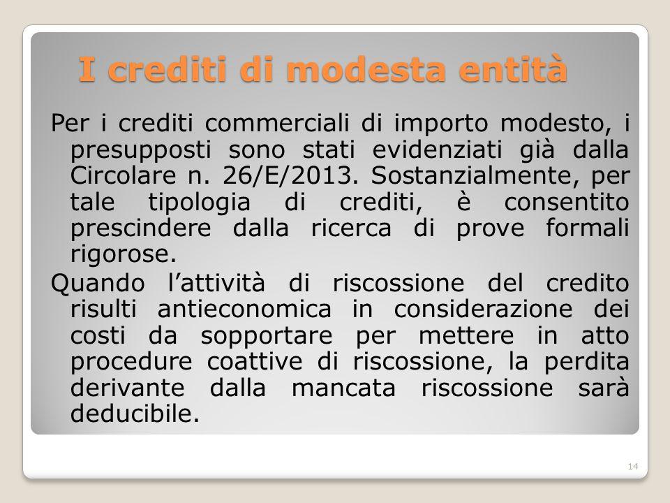 I crediti di modesta entità Per i crediti commerciali di importo modesto, i presupposti sono stati evidenziati già dalla Circolare n. 26/E/2013. Sosta