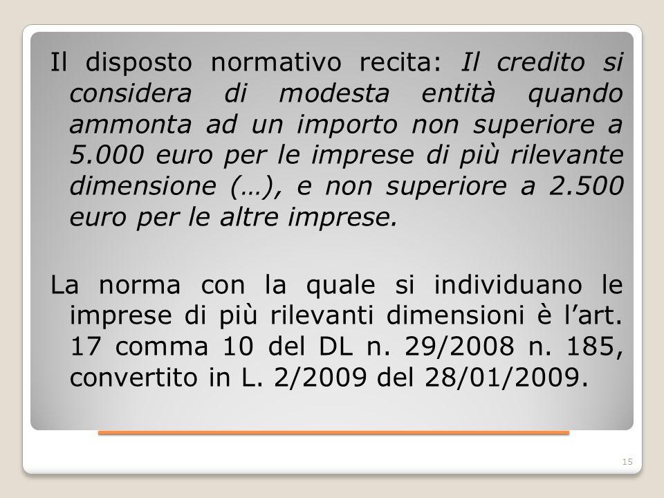 ____________________ Il disposto normativo recita: Il credito si considera di modesta entità quando ammonta ad un importo non superiore a 5.000 euro p
