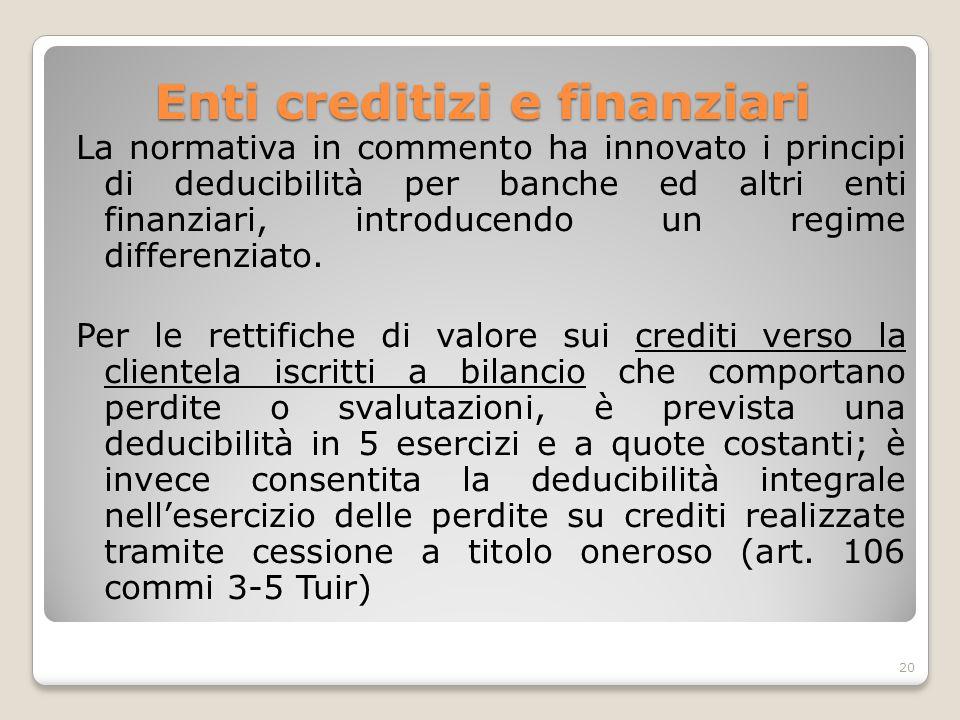 Enti creditizi e finanziari La normativa in commento ha innovato i principi di deducibilità per banche ed altri enti finanziari, introducendo un regim