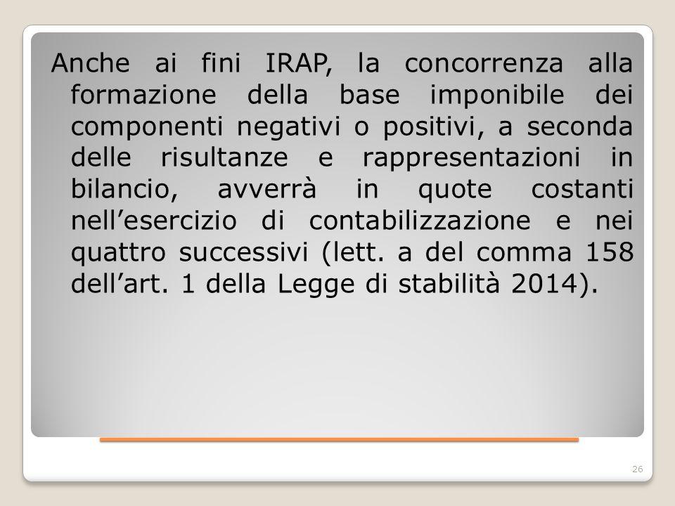 ____________________ Anche ai fini IRAP, la concorrenza alla formazione della base imponibile dei componenti negativi o positivi, a seconda delle risu