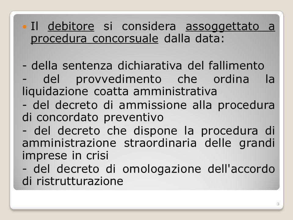 Il debitore si considera assoggettato a procedura concorsuale dalla data: - della sentenza dichiarativa del fallimento - del provvedimento che ordina