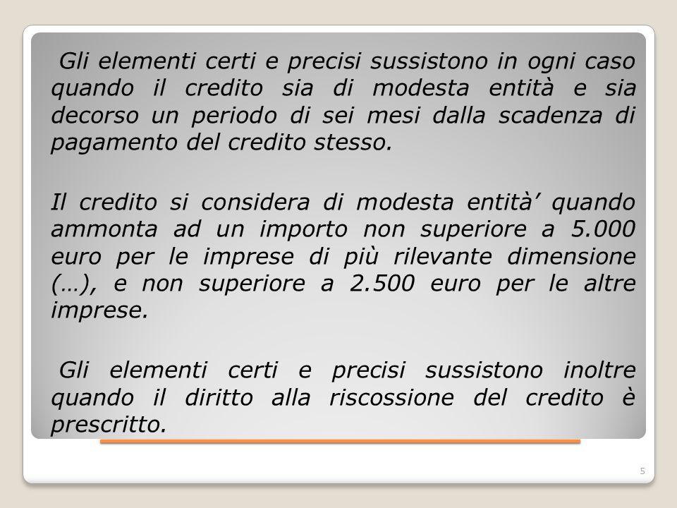 ____________________ 6 Gli elementi certi e precisi sussistono inoltre in caso di cancellazione dei crediti dal bilancio operata in applicazione dei principi contabili.