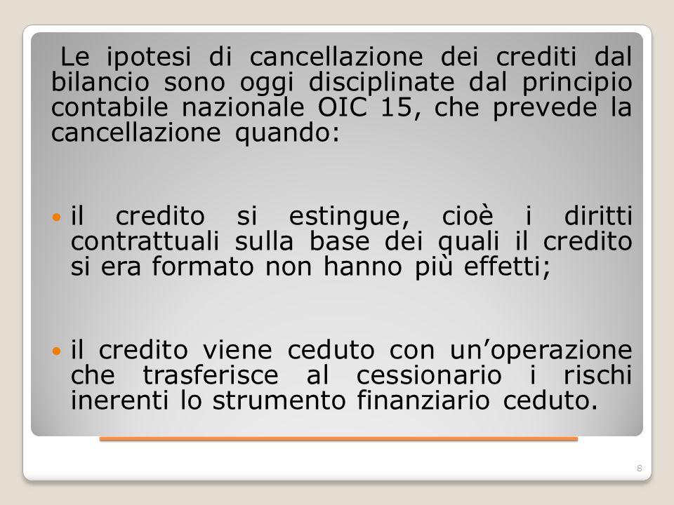 ____________________ 9 Operazioni che comportano la cancellazione del credito dal bilancio sono, ad esempio: -il forfaiting, cioè la cessione, senza rivalsa, da parte di un esportatore ad un forfaiter, di titoli di credito ricevuti da un importatore come pagamento delle merci da lui acquistate, contro l anticipazione del relativo importo; - la datio in solutum (contratto solutorio estintivo dell'obbligazione, con cui la prestazione originariamente dovuta è sostituita da una di natura diversa); - il conferimento e la vendita del credito; - la cartolarizzazione del credito, cioè la cessione attraverso l emissione ed il collocamento di titoli obbligazionari