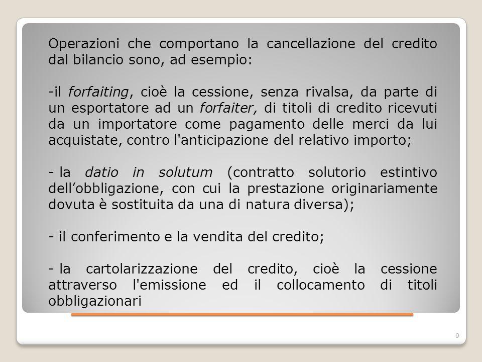 ____________________ 9 Operazioni che comportano la cancellazione del credito dal bilancio sono, ad esempio: -il forfaiting, cioè la cessione, senza r