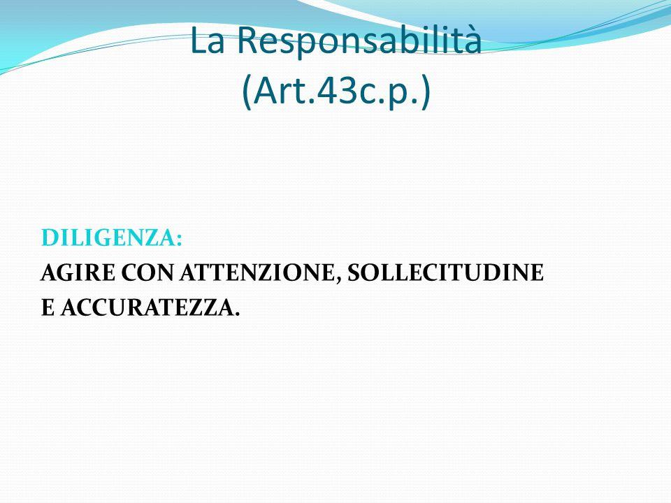 La Responsabilità (Art.43c.p.) DILIGENZA: AGIRE CON ATTENZIONE, SOLLECITUDINE E ACCURATEZZA.