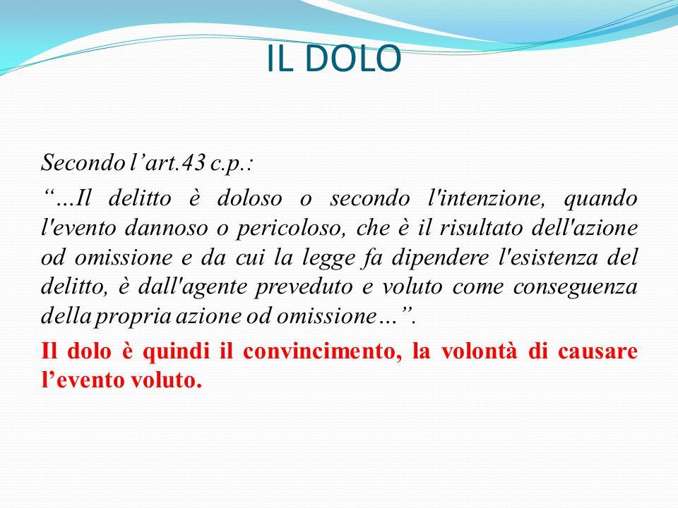 """IL DOLO Secondo l'art.43 c.p.: """"…Il delitto è doloso o secondo l'intenzione, quando l'evento dannoso o pericoloso, che è il risultato dell'azione od o"""