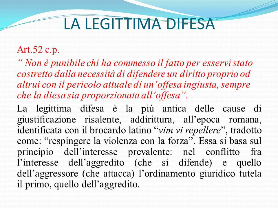 """LA LEGITTIMA DIFESA Art.52 c.p. """" Non è punibile chi ha commesso il fatto per esservi stato costretto dalla necessità di difendere un diritto proprio"""