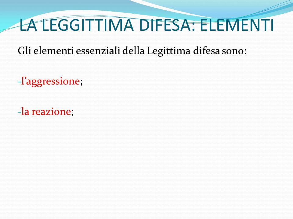 LA LEGGITTIMA DIFESA: ELEMENTI Gli elementi essenziali della Legittima difesa sono: - l'aggressione; - la reazione;